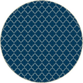 Quaterfoil Circle Design- Size Rug: 5ft x 5ft blue & white