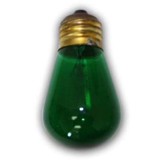 Medium Size Green Light Bulb - S14 - 11 Wattages -E26..855693003513/B008S9G82E..Made in China $USD-