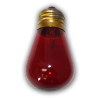 Medium Size Red Light Bulb - S14 - 11 Wattages - E26..855693003520/B008S9G89W..Made in China $USD- S