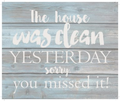 """The house was clean yesterday.  You missed it - Wash out Grey background 10"""" x 12"""""""