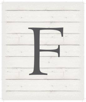 "Letter F - White background 10"" x 12"""