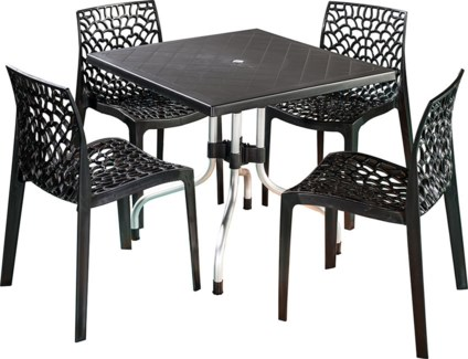 Black 5 Piece Set - Commercial Grade Chairs & Table