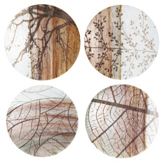 Natural Motif set of 4 Coasters - White Rosewood