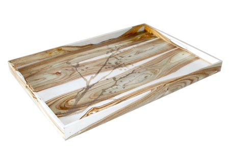 "Natural Motif Drinks Tray (20"" x 14"") - White Rosewood"