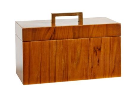 Captain's Rectangle Box - Varnished Teak/Brass Handle