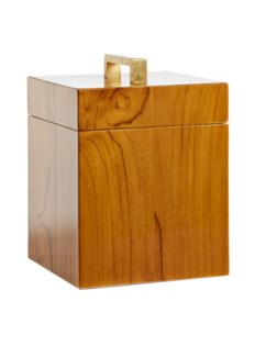 Captain's Square Box - Varnished Teak/Brass Handle