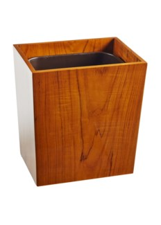 Captain's Wastebasket - Varnished Teak (w/ insert)