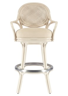 Dahlia Barstool - White (Brushed Nickel Footrail)