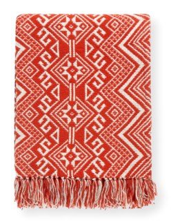 Rapee Damaska Red Throw 152cm