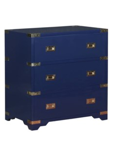 Chiba Bedside Chest - Navy Lacquer