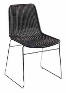 Ensign Stacking Chairs, wicker and chrome - Black