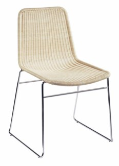 Ensign Stacking Chairs, wicker and chrome - Natural