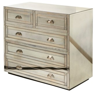 Shanghai Five Drawer Table - Antique Mirror