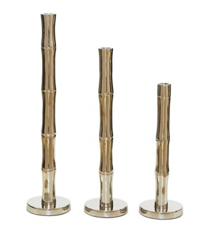 Bamboo Candle Stands - Nickel