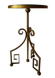 """Greek Key 15"""" Side Table - Gold"""