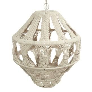 Tula Hanging Macrame Pendant - White
