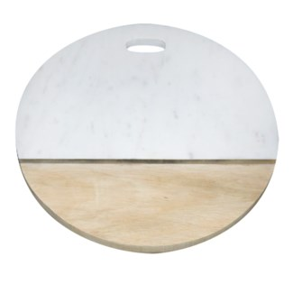 Kilkenny round board - white marble and brass.