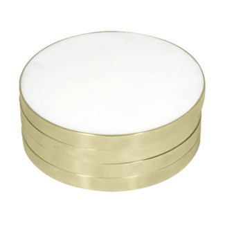 Kilkenny Round Coaster - marble and brass