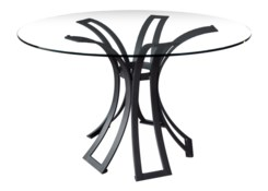 Klismos Wrought Iron Dining Table Base - Black Finish