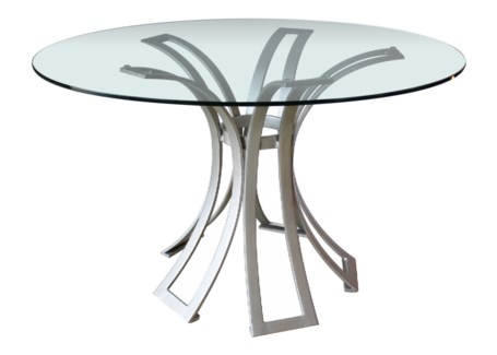 Klismos Wrought Iron Dining Table Base - Silver Finish