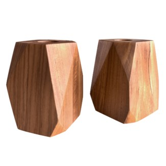 Master's Collection - Large Teak Tea Light Holder (Pair)