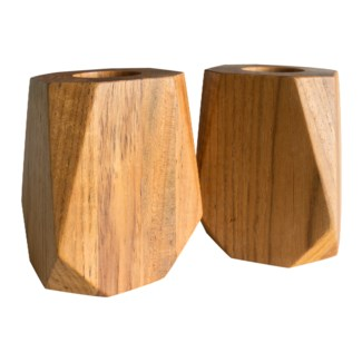 Master's Collection - Medium Teak Tea Light Holder (Pair)