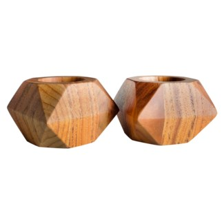 Master's Collection - Small Teak Tea Light Holder (Pair)