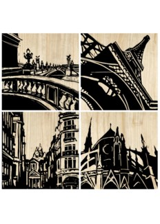 Paris City Panel (set of 4) - Black