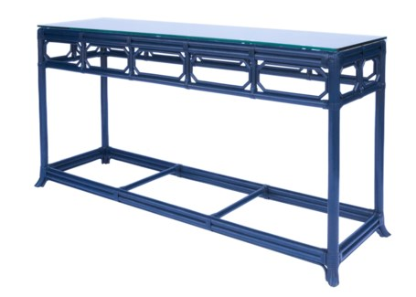Regeant Console Table w/ Glass top - Blueberry