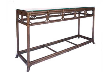Regeant Console Table W/Glass top - Cinnamon