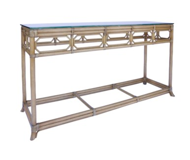 Regeant Console Table w/Glass top - Nutmeg
