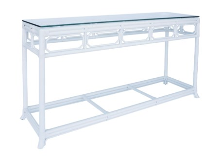 Regeant Console Table w/ Glass top- White