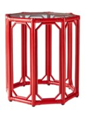 Regeant Octagon End Table w/Glass - Antique Red