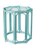 Regeant Octagon End Table w/Glass - Light Blue (SPOT TABLE)