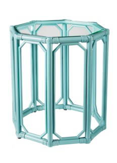 Regeant Octagon End Table w/Glass - Light Blue (SPOT TABLE)