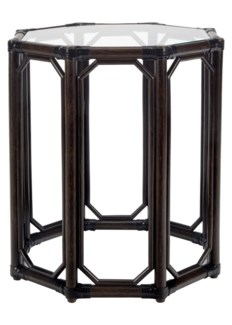 Regeant Octagon End Table w/Glass - Clove  (SPOT TABLE)
