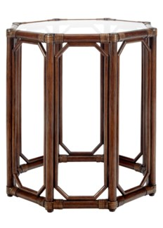 Regeant Octagon End Table w/Glass - Cinnamon  (SPOT TABLE)
