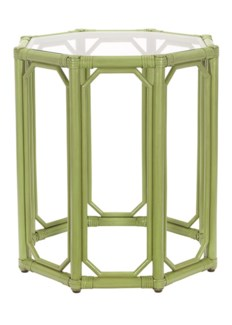 Regeant Octagon End Table w/Glass - Kiwi  (SPOT TABLE)