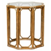 Regeant Octagon End Table w/Glass - Nutmeg  (SPOT TABLE)