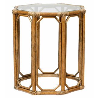 Regeant Octagon End Table w/Glass - Nutmeg  (SPOT TABLE)