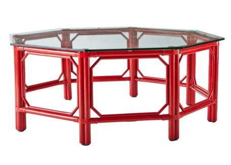 Regeant Octagon Coffee Table w/Glass - Antique Red
