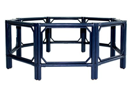 Regeant Octagon Coffee Table w/Glass - Blueberry