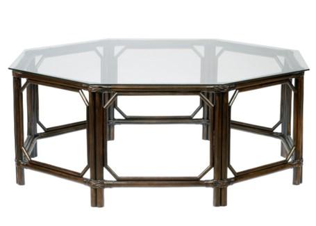 Regeant Octagon Coffee Table w/Glass - Clove