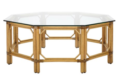 Regeant Octagon Coffee Table w/Glass - Nutmeg