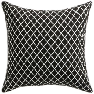 Florence Broadhurst Antique Lattice Black Pillow 22x22