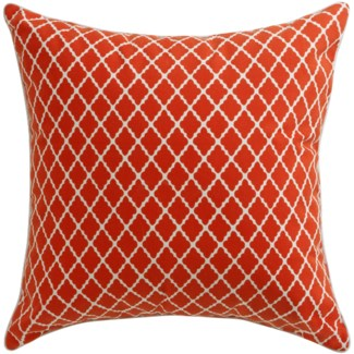 Florence Broadhurst Antique Lattice Red Pillow 22x22