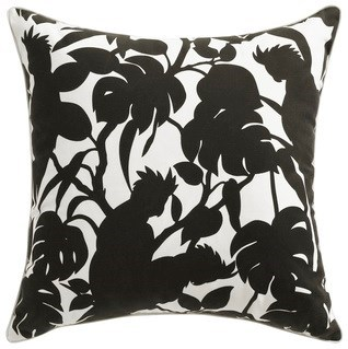 Florence Broadhurst Cockatoos Black Cushion 22x22 (Outdoor)