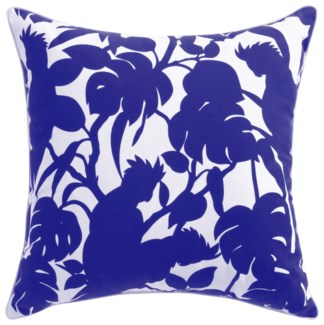 Florence Broadhurst Cockatoos Cobalt Cushion 22x22 (Outdoor)