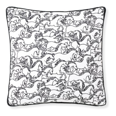 Florence Broadhurst Horses Stampede Black Cushion 20x20