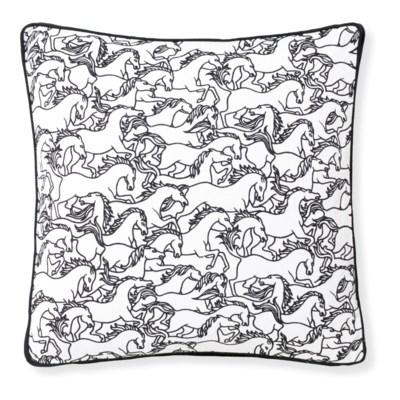 Florence Broadhurst Horses Stampede Black Cushion 20x20
